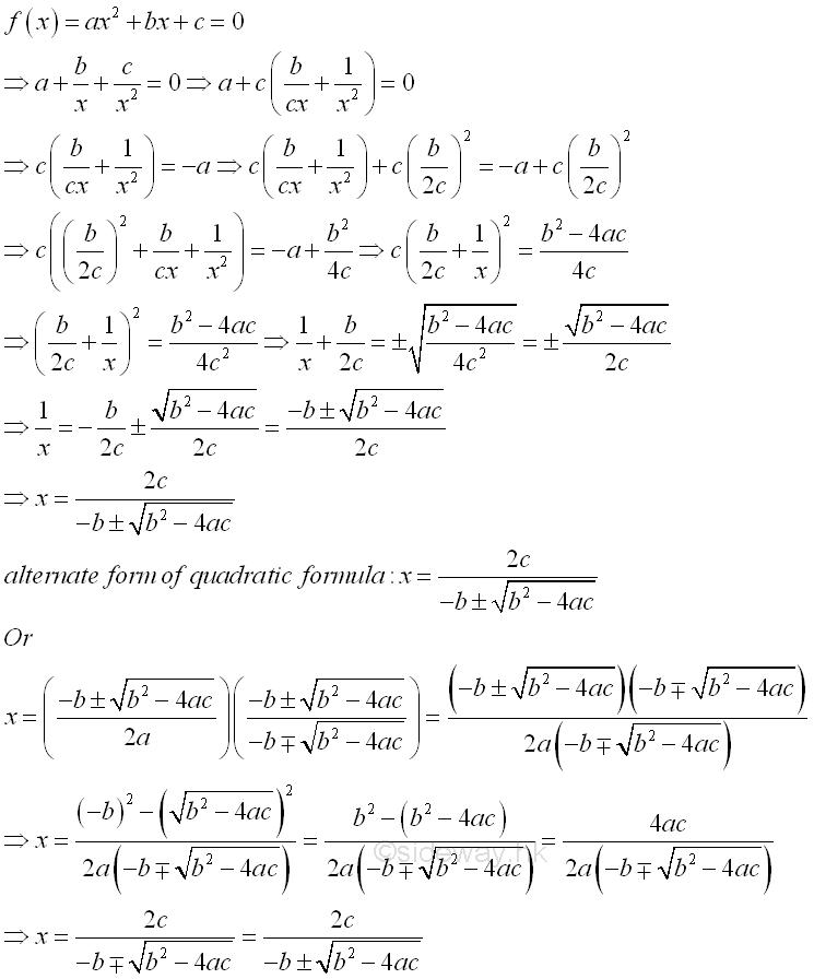 Quadratic Equations Output From Sideway